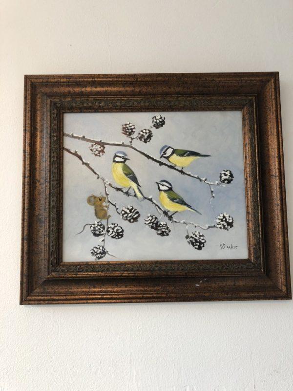 Mooi olieverf schilderij van vogels van Nederlandse schilder