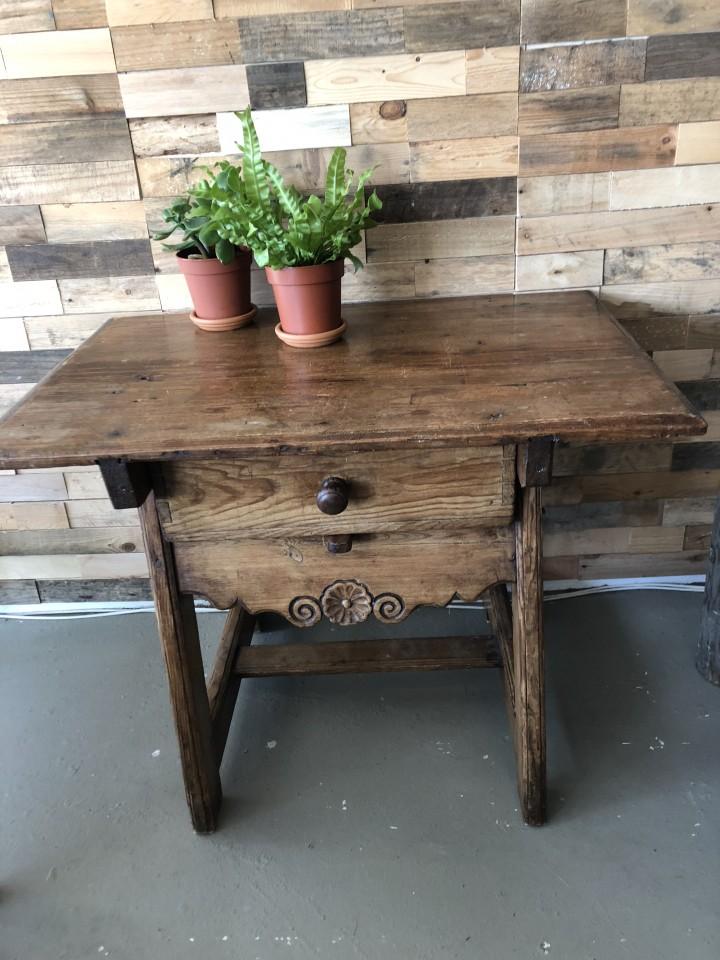 Stevige Side Table.Oude Houten Betaaltafel Met Lade