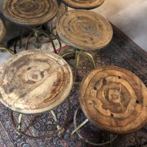 Eikenhouten art deco bureaustoel met bruin leder Vindustrial