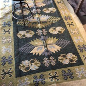 Grote groene Kelim tapijt