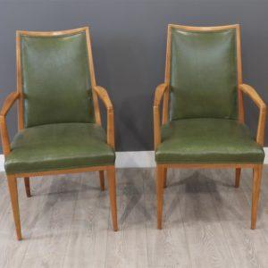 Beuken houten stoel met groen leder