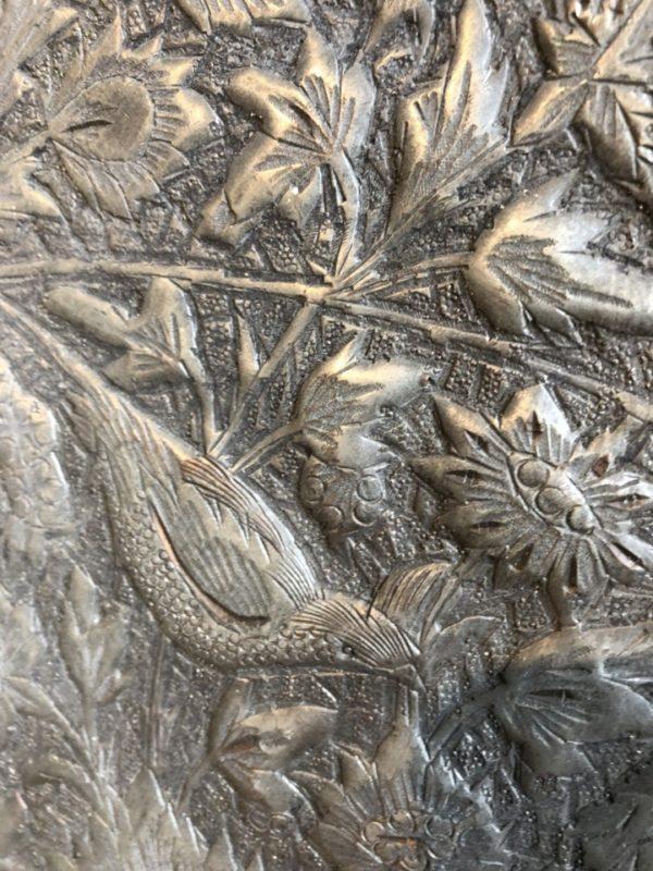 Grote ronde oude antieke ijzeren schaal