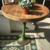 Oude Franse ronde houten industriele Bistro tafel, inklapbaar