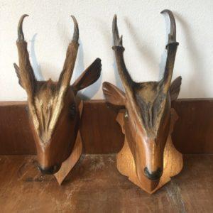 Grote houten hertenkop met gewei