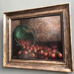 Stilleven olieverf schilderij van schaal met aardbeien