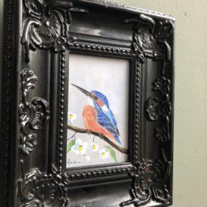 IJsvogel olieverf in zwarte lijst van Nederlandse schilder