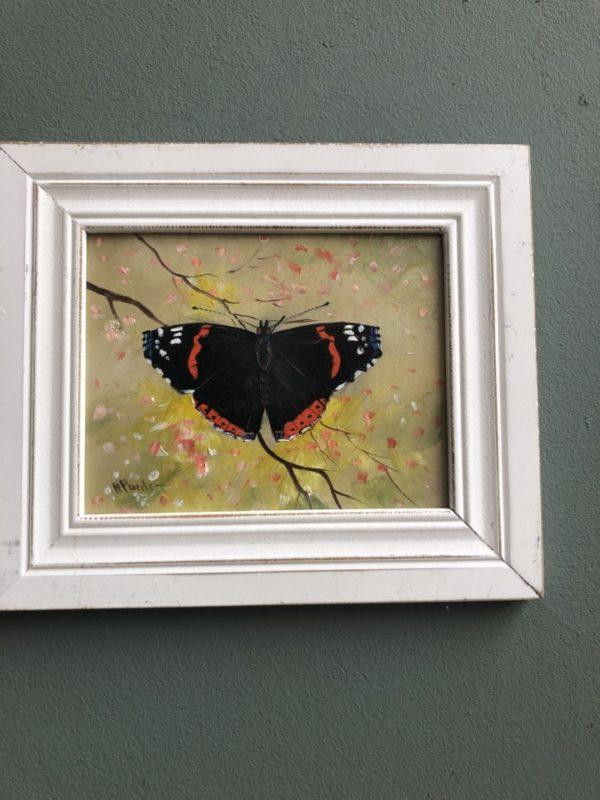 Vlinder olieverf schilderij op doek, van Nederlandse schilder