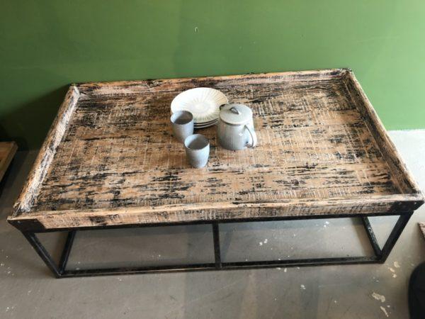 Industriele hout met metalen design salontafel