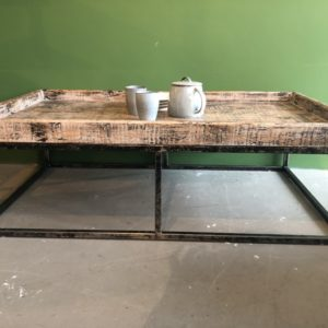 Industriele hout met metalen design salontafel