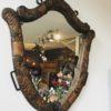 Antieke houten spiegel, uitgestoken hout 1898