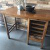 Houten vintage bureau met rolluik en laden