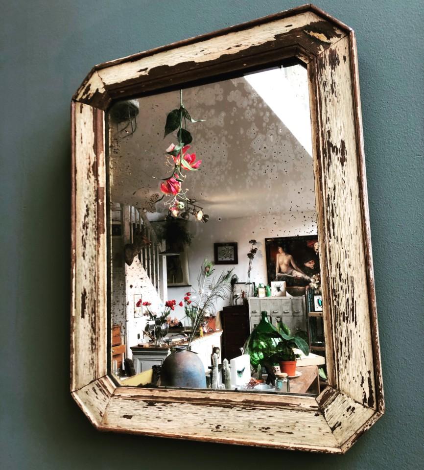 Spiegel Met Oude Lijst.Oude Spiegel In Oude Houten Lijst