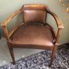 Eikenhouten art deco bureaustoel met bruin leder