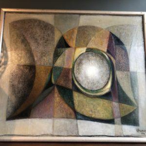Groot abstract schilderij, gesigneerd
