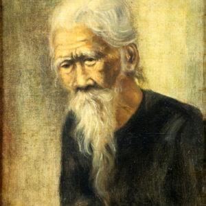 Prachtige olieverf schilderij van oude man, gesigneerd