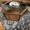 Houten glazen salontafel, 6 hoekig vintage look