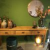 Lange Franse houten sidetable met 3 grote laden