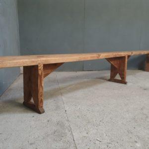 XL oude houten grenen schoolbank