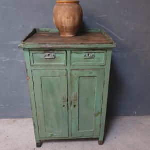 antique green cabinet