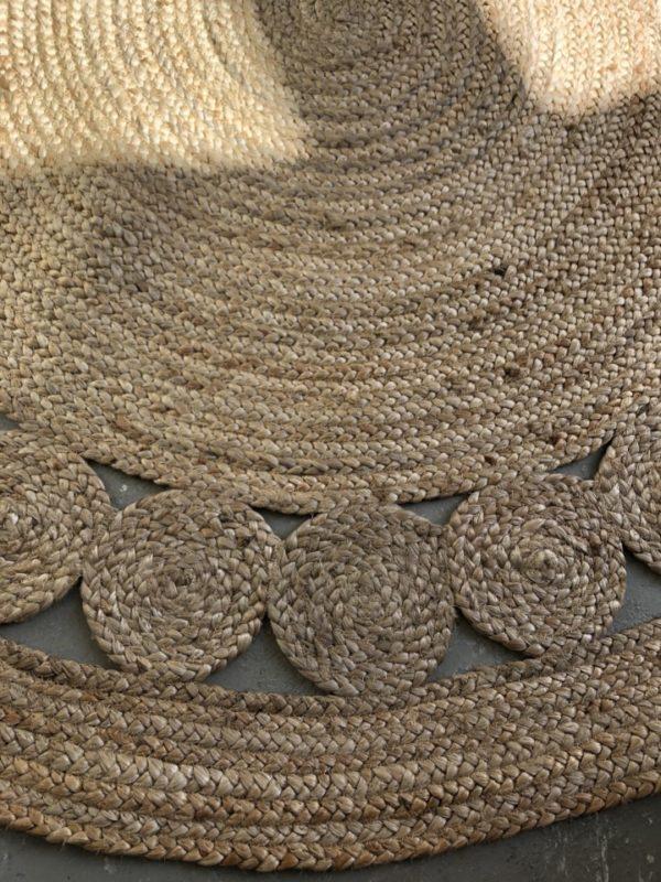 Rond jute bruin tapijt
