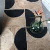 Mooie rechthoekige bruin/zwarte jute tapijt