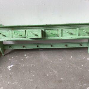 Mooie oude groene houten Regaal /kapstok met veel laden