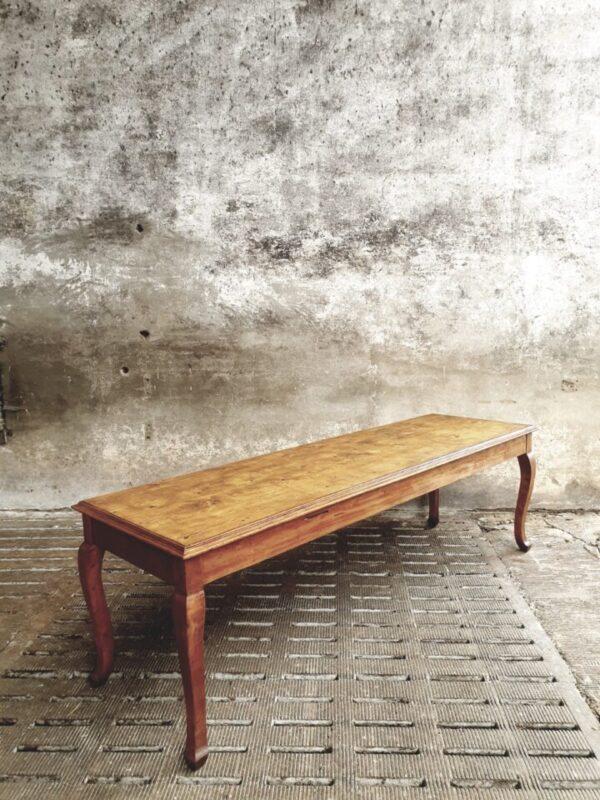 Oude lange houten tafel jaren 50
