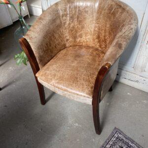 Bruine lederen club fauteuil