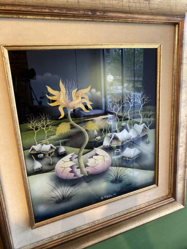 Flower from egg olieverf achterglas schildering