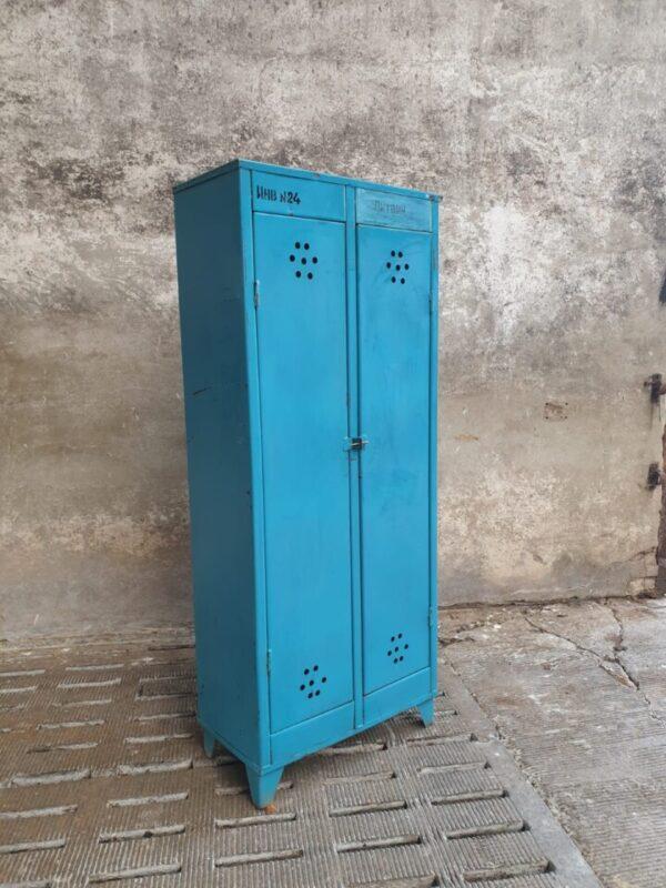 Oude blauw 2 deurs locker kast