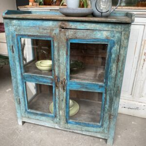 Nice old blue cupboard with glass doors