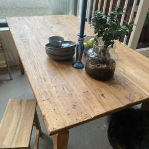 Old wooden French table with 1 drawer and old connections