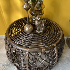 Rattan brown round side table